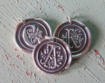"Fine Silver Monogram Wax Seal Pendant on 18"" Sterling Silver Chain"