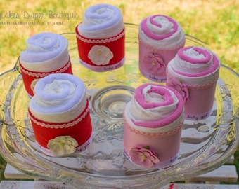 Baby Shower Diaper Cake Cupcake with Wash Cloth