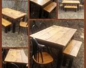 Burnt Golden Oak & Kettle Black Primitive Cabin Farmhouse 37x64x32h Kitchen FARM HOUSE Table W Matching Bench Custom Sizes Colors Avail