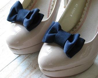 Navy blue shoe clips Something blue Navy shoe clips Navy blue bridesmaids gift Navy blue bridal Navy blue wedding Wedding shoes Navy bridal