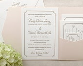 The Audrey Suite - Classic Letterpress Wedding Invitation Sample, Gold, Blush Shimmer pocket enclosure, Pink, Old Hollywood, Ticket, Movie