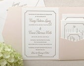 The Audrey Suite - Classic Letterpress Wedding Invitation Suite, Gold, Blush Shimmer pocket enclosure, Pink, Old Hollywood, Ticket, Movie