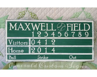 Personalized Baseball Scoreboard Sign Man Cave Decor Custom Game Room Wall Art Nursery