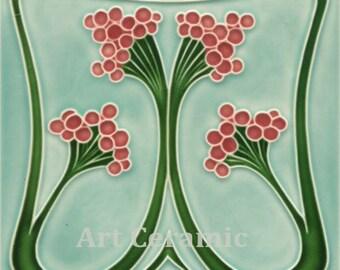 """Art Nouveau Reproduction Ceramic tile 6"""" #36"""