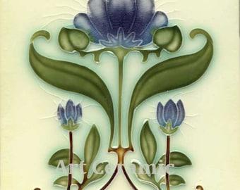 """Art Nouveau Reproduction Ceramic tile 6"""" #44"""