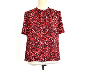 Vintage 50s/60s Cropped Blouse - Abstract Mid-Century Secretary Librarian Crop Top - Mid Century Short Sleeve Red Blouse - Vintage Shirt