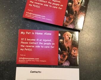 Emergency Pet Notification Cards