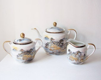 Kutani China Tea Set Made in Japan / Teapot, Sugar Bowl and Creamer