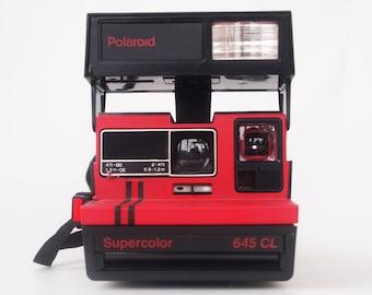Polaroid Supercolor 645 CL red vintage close up camera