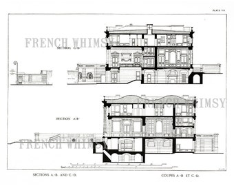 XL Petit Trianon Architectural Drawing, Marie Antoinette's Home, Versaille, Isolated, Printable Wall Art Digital Download,