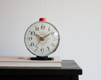Alarm Clock, Soviet Alarm Clock, Jantar Soviet Union Home Decor Desk Clock, Office Decor, Light Blue Clock, Red