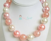 Coral & Cream Bubblegum Necklace, Chunky Bubblegum Necklace, Bead Necklace, Chunky Bead Necklace, Gumball Necklace