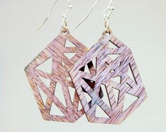 Gem laser cut earrings