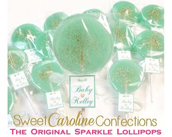 Mint and Gold Baby Shower Lollipops with Custom Tags, Hard Candy Lollipops, Sparkle Lollipops, Sweet Caroline Confections-Set of Six