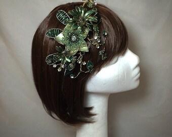 Green fascinator, green gold headdress, wedding fascinator, green hat,