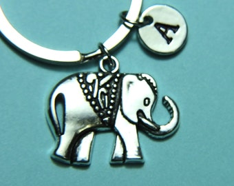 Elephant Keychain,Silver Elephant Key Ring, Elephant Charm, Initial Keychain, Personalized Keychain, Custom Keychain, Charm Keychain