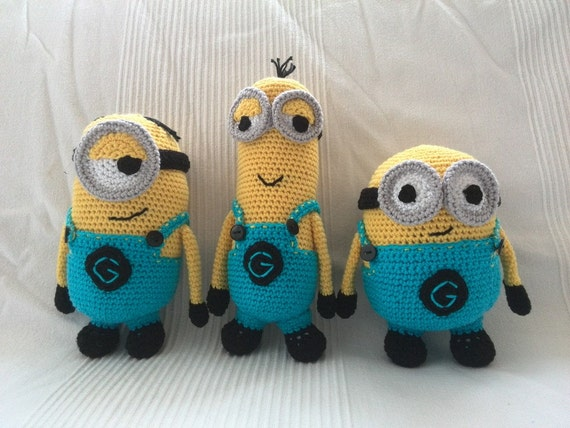 Free Crochet Pattern For Bob The Minion : Crochet Pattern Minions Despicable Me Stuart Kevin Bob DIY
