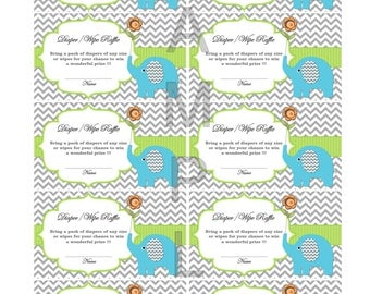 insert for Baby Shower Invitation Diaper Raffle Elephant Baby Shower Games blue green (87gt1a) download