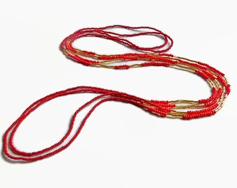 Seed bead necklace, red, gold, boho chic, layer necklace, color block, beaded necklace, long necklace, boho necklace