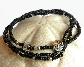 3 seed bead bracelets black, stretch bracelets black and silver, friendship bracelets star