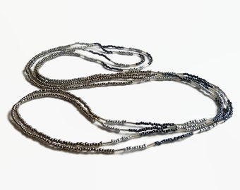 Seed bead necklace, beaxed necklace, boho chic, layer necklace, gunmetal, silver, metallic, boho necklace