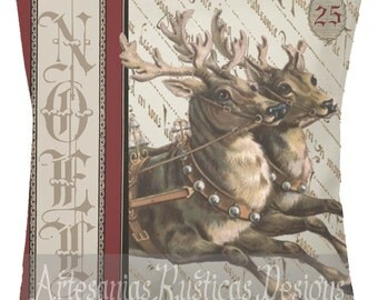 Christmas Pillow Vintage Reindeer French Noel Pillow Cotton Canvas Burlap Throw Pillow Cover