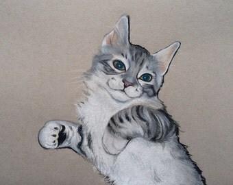 5x7 Custom Pet Portrait / Custom Cat Portrait / Custom Colored Pencil Pet Portrait