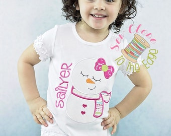 Christmas Winter Snowman Snowgirl T-Shirt - Personalized - Applique Monogram Holiday Shirt - Toddler - Embroidered Snowman