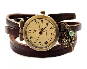 "Wrap Watch, Bracelet Watch, Wrist Watch, Vintage Watch ""Tree"" Leather Bracelet: dark brown"