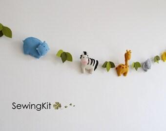 nursery garland DIY animal garland, wool felt garland, sewing kit garland nursery bunting, animal bunting, elephant zebra hippo giraffe lion