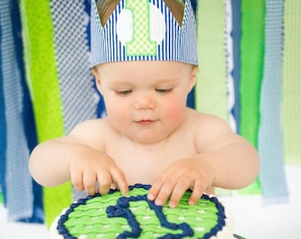 Blue and green first birthday crown - first birthday party