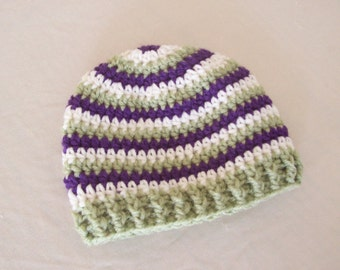 CLEARANCE! RTS 3 to 6 Months Baby Striped Beanie Hat - Purple, Green, White