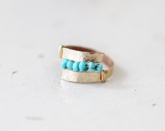 Hammered Gold and Turquoise Wrap Ring