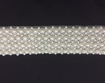 "1yd Pearl Bridal Trim 1.25"" Wide Belt Costume Cake Banding Beautiful"