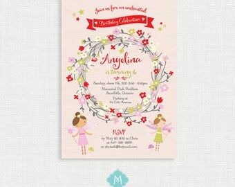 Fairy Birthday Invitation- Woodland Fairy Birthday Printable,  Birthday Party Invitations, DIY,  Printable Template, Birthday