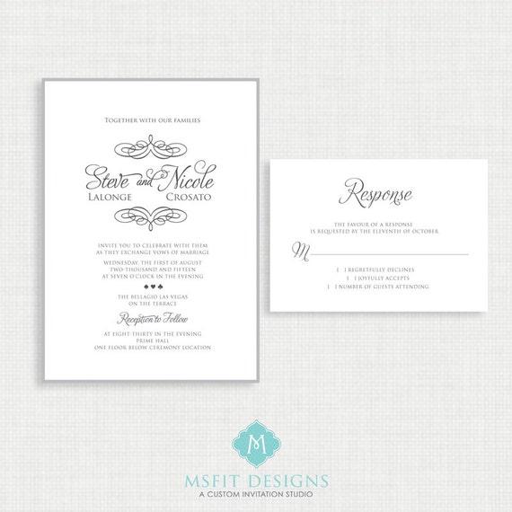 Printable wedding invitation- RSVP Card Included- Vegas Wedding - Swirl Monogram