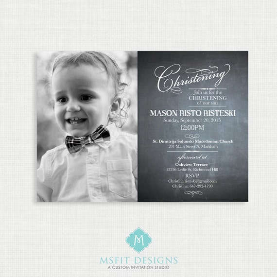 Chalkboard  Baptism Invitation- Boy Baptism Invitation - Baby Dedication, First Communion, Confirmation, Christening