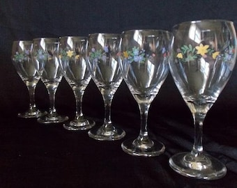 Set of Six Hand Painted Wine Glasses / Champagne Glasses / Wedding Glasses / Toasting Glasses / Stemware / Barware / Cottage Chic