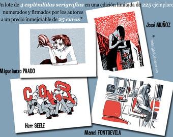 COMICNOSTRUM 2015. 4 Screenprints from 4 greatest comic artists
