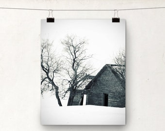 Snow Scene, Winter Landscape Photograph, Rustic Photo, Canadian Winter