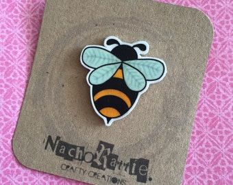 Bee Shrink Plastic Brooch
