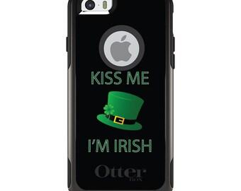 OtterBox Commuter for Apple iPhone 5S SE 5C 6 6S 7 8 PLUS X 10 - Custom Monogram - Any Colors - Black Green Kiss Me I'm Irish