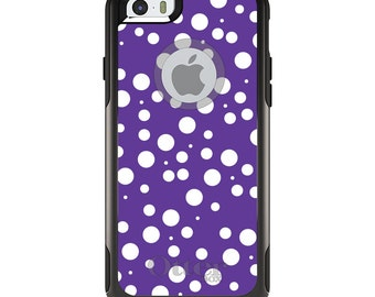 OtterBox Commuter for Apple iPhone 5S SE 5C 6 6S 7 8 PLUS X 10 - Custom Monogram - Any Colors - Purple White Bubbles Polka Dots
