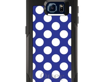 OtterBox Commuter for Galaxy S4 / S5 / S6 / S7 / S8 / S8+ / Note 4 5 8 - CUSTOM Monogram - Any Colors - White & Dark Blue Polka Dots