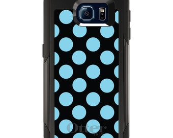 OtterBox Commuter for Galaxy S4 / S5 / S6 / S7 / S8 / S8+ / Note 4 5 8 - CUSTOM Monogram - Any Colors - Black Blue Polka Dots