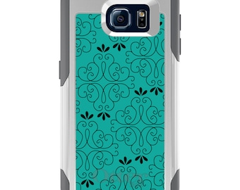 OtterBox Commuter for Galaxy S4 / S5 / S6 / S7 / S8 / S8+ / Note 4 5 8 - CUSTOM Monogram - Any Colors - Coral Blue Black Floral Pattern
