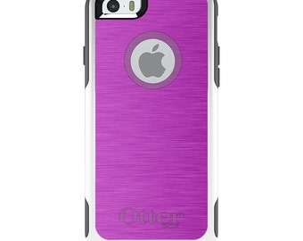 OtterBox Commuter for Apple iPhone 5S SE 5C 6 6S 7 8 PLUS X 10 - Custom Monogram - Any Colors - Hot Pink Stainless Steel Print