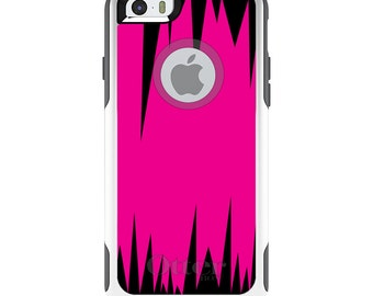 OtterBox Commuter for Apple iPhone 5S SE 5C 6 6S 7 8 PLUS X 10 - Custom Monogram - Any Colors - Neon Pink Black Spikes