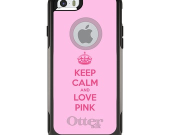 OtterBox Commuter for Apple iPhone 5S SE 5C 6 6S 7 8 PLUS X 10 - Custom Monogram - Any Colors - Keep Calm and Love Pink