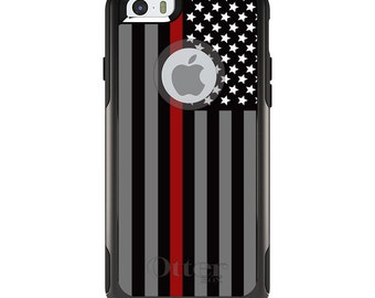 OtterBox Commuter for Apple iPhone 5S SE 5C 6 6S 7 8 PLUS X 10 - Custom Monogram - Any Colors - Thin Red Line US Flag Fire Rescue